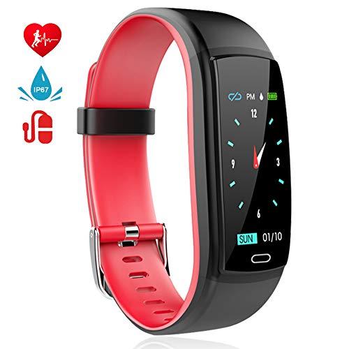 MINLUK Fitness Tracker, Braccialetto Fitness Impermeabile, Cardiofrequenzimetro da Polso, Pedometro, Calorie Monitoraggio del Sonno, Notifiche Chiamate e WhatsAPP, Smart Watch per Android iOS (Rosso)