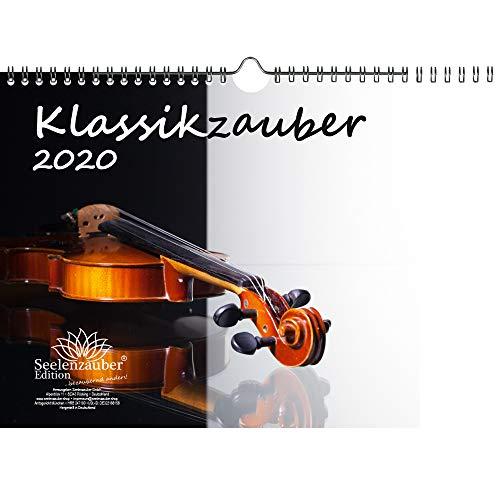 Klassikzauber DIN A4 Kalender 2020 Klassik und Instrumente Geschenk-Set: Zusätzlich 1 Grußkarte und 1 Weihnachtskarte - Seelenzauber