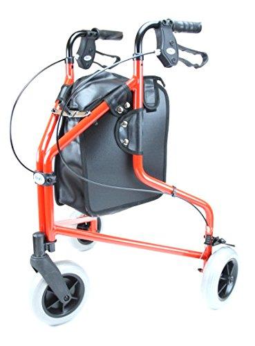 Ability Superstore - Deambulatore a 3 ruote, leggero in alluminio, colore: rosso