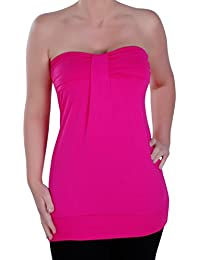 EyeCatch - Nicole Womens Bandeau Sleeveless Stretch Fashion Ruched Ladies Strapless Top