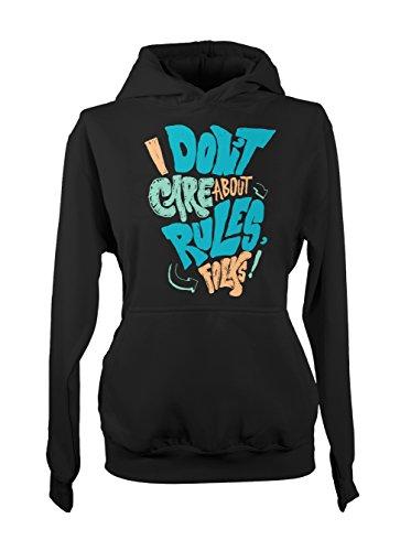 I Don't Care About Rules Folks Femme Capuche Sweatshirt Noir
