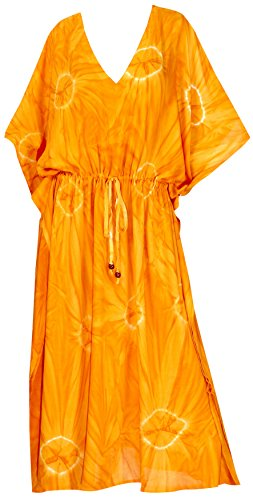 LA LEELA Frauen Damen Rayon Kaftan Tunika Tie Dye Kimono freie Größe Lange Maxi Party Kleid für Loungewear Urlaub Nachtwäsche Strand jeden Tag Kleider Orange_B18 - Tie-dye-tunika