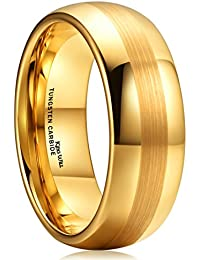 King Will GLORY Tungsten Carbide Wedding Ring 8mm Dome Gold Plated Brushed Center Polished Comfort Fit