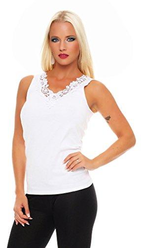 Hochwertiges Damen Träger-Top mit großer Spitze Nr. 416 (Oberteil / Unterhemd / Träger-Shirt) 100% Baumwolle ( Weiß / 56/58 ) - 2
