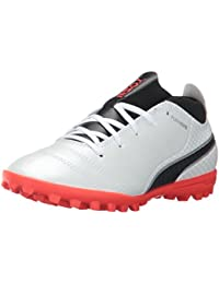 PUMA Unisex-Kids One 17. 4 TT Jr Soccer-Shoes, Puma White-Puma Black-Fiery Coral, 3 M US Little Kid