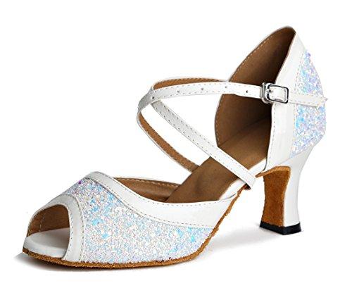TDA ,  Damen Peep Toes 7cm White