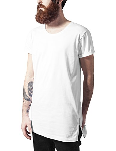 Urban Classics Long Shaped Side Zip Tee, T-Shirt Uomo Weiß (white 220)