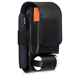 kwmobile Hülle 3in1 kompatibel mit IQOS 2.4/2.4 Plus Pocket Charger - Kunstleder Case IQOS Starter-Kit Schutzhülle in Schwarz