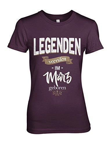 Legenden Werden Im März Geboren Geburtstag Geschenk Damen T-Shirt Lila Small (Lila Peace Hoodie)