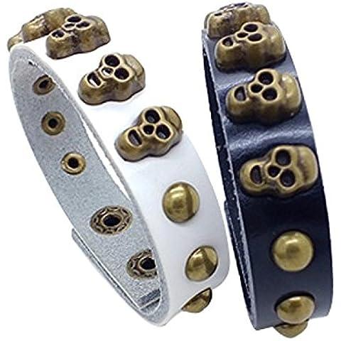 Dansuet Bracciale in pelle 2 pezzi nero + bianco disegno punk del cranio di modo Rivet Studded Wristband, braccialetto di cuoio Wristband per le donne