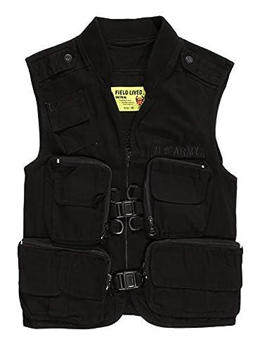 Menschwear Men's Cargo Vest Multi Pockets Mesh Casual Outwear8020 (S, Black)
