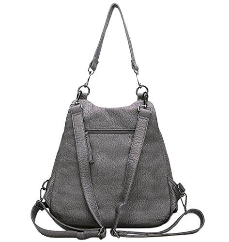 Damen Rucksack Backpack Daypacks Backpacks Schultaschen Schultertasche Fashion Leder Grau