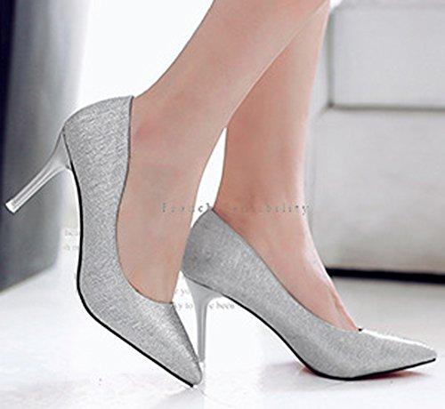 Damen Pumps Spitze Mattleder Stilettos Slip On Schöne High Heels Silber