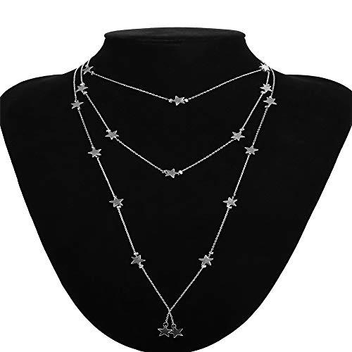 (Kanqingqing Damenkleid Damen Stern Halskette Anhänger Dreischichtige Kette Halskette Damen Damen Anhänger Lange Halskette Schmuck Für Frauen Hochzeit Damen-Quaste-Kette (Farbe : Silber))