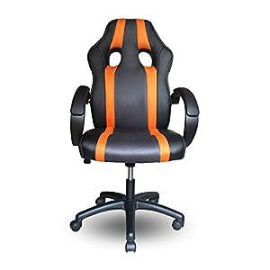 41P3zVFiqzL. SS300  - HG-PU-Racing-Chair-Silla-de-oficina-Comfort-Executive-Chair-Silla-giratoria-naranja-Altura-ajustable-Capacidad-de-carga-200-kg