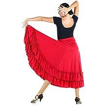 Danzcue Adulto Dos Volantes Falda de Baile Flamenco, Rojo, L