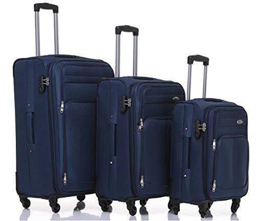 Kofferset Trolley Gepäckset Stoff Dehnungsfuge Koffer Reisekoffer (Blau)