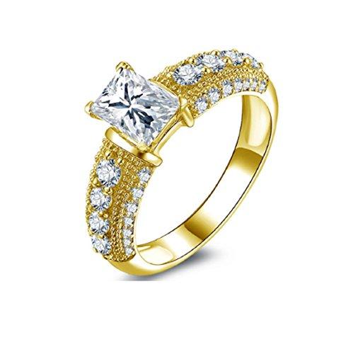 Gowe 10K Solid Gelb Gold Hochzeit Ringe 1Karat Rechteck Schnitt Simuliert Diamant JOYERIA Fina Glanz
