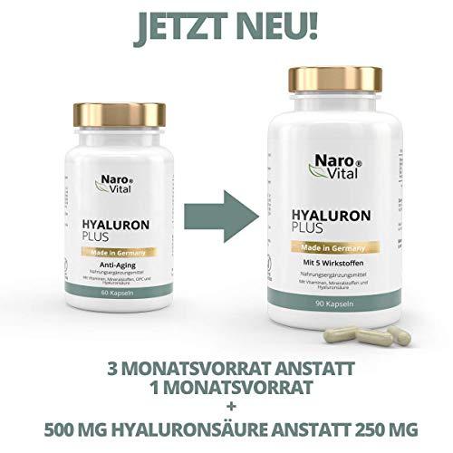 Hyaluronsäure Kapseln - Anti-Aging & Gelenke - 500 mg pro Kapsel Hochdosiert - 90 Kapseln - 500-700 kDa, Vitamin B2, Zink, Selen & Vitamin C - 3 Monatsvorrat - vegan - Hyaluron Plus