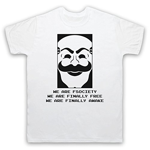 Mr Robot We Are Fsociety We Are Finally Free We Are Finally Awake Herren T-Shirt Weis