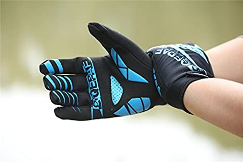 Lerway Winter Gloves Silica Gel Padded Full Finger Anti-skid Warm Wear for Fitness, Racing, Bike Cycling, Riding, Outdoor Sports (M, Blue)