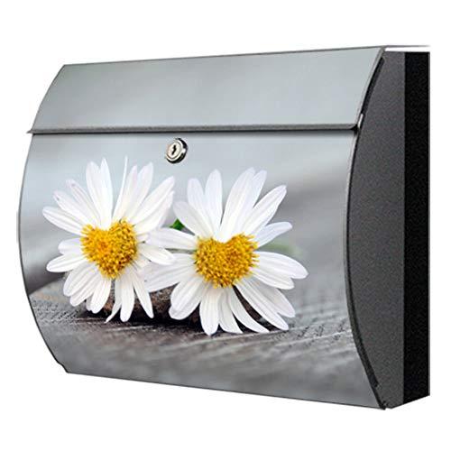 Briefkasten motivX Edelstahl bunt Zeitungsfach Design Wandbriefkasten Swing mit Motiv - Verliebte Gänseblümchen
