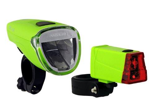 Büchel Batterielampenset Frontlampe Triolux 40 Lux mit Rücklicht Mini LED, grün, 51125476