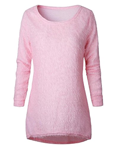 Tootlessly-Women Solid Color Long Sleeve Fluffy Wild Knitted Sweater
