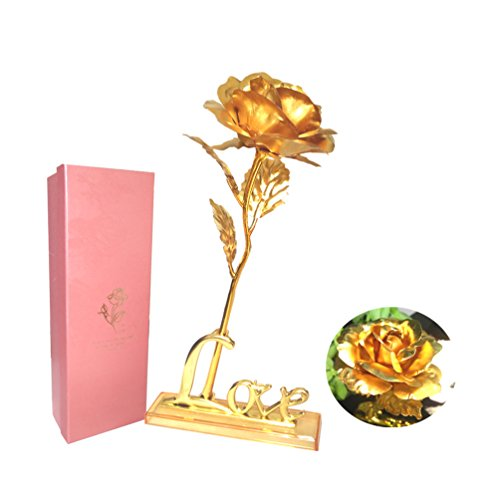 Lámina de oro rosa con Love soporte, Upgrade Versión 9,8pulgadas Oro Rosa Flor Con Caja de regalo, para San Valentín, Día de la madre, cumpleaños, bodas, gracias Dado Y Todas Las Celebraciones