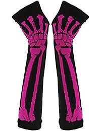 c95ec39b3 Butterme moda donna inverno caldo a maglia scheletro osso guanti lunghi  senza dita rosso Red