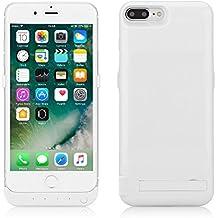 """ZOGIN Funda Batería iphone 7 plus (5.5 pulgadas), 10000mAh Funda Protectora Cargador / Funda de Batería Integrada Recargable de Alta Capacidad con Soporte de Móvil Plegable para iPhone 7 plus 5.5"""", Color Blanco"""