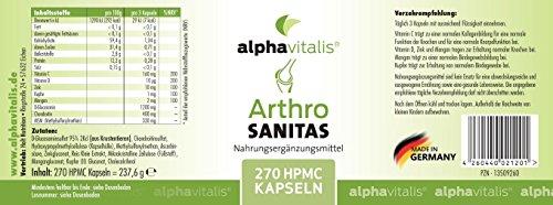 Arthro Sanitas Gelenkkapseln mit Glucosamin, Chondroitin, MSM, Zink, Mangan – 270 Kapseln für 3 Monate – ohne Magnesiumstearat