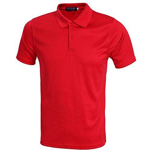 Demarkt Herren Poloshirt Polo T-Shirt Polohemd Kurzarm Polyester Rot XXXL Rot x M