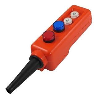 DealMux Blau Rot LED-Lampen-Up-Down Control Station Hoist Druckschalter AC 380 V
