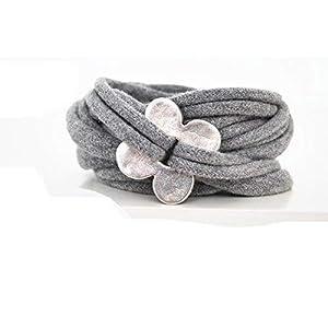 Armband Wickelarmband Stoff grau meliert oder Wunschfarbe 60 Varianten mit Blume silber aus Metall individuelle Geschenke mit Liebe