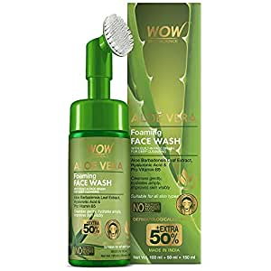 WOW Skin Science Aloe Vera Foaming Face Wash With Built-In Face Brush For Deep Cleansing - No Parabens, Sulphate, Silicones & Color, 150 mL