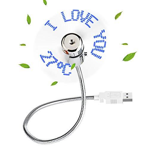 GeeRic USB Ventilator LED mit Flexiblem Hals,Mini USB LED Temperatur Fan Message Schwanenhals LED Display Erinnerung Funktion for PC Laptop Notebook Desktops -