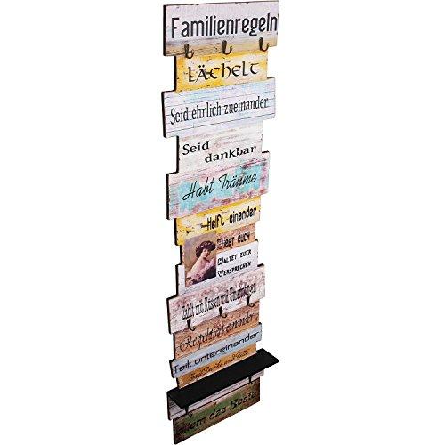 Wohaga Wandpanele 42x10x145cm Familienregeln mit Ablage und 8 Haken Wandgarderobe Flurgarderobe Garderobe