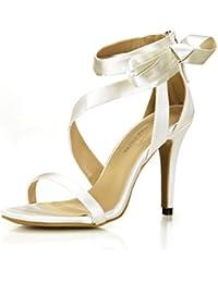 Nuevas mujeres sandalias Noble cena boda cinta en la el High-Heel crema de zapatos, zapatos de mujer, Opal