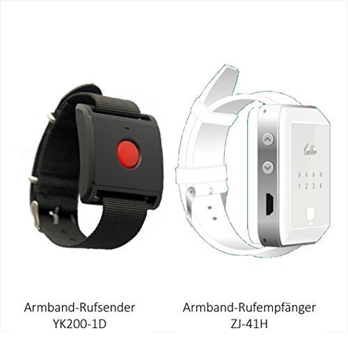 Pflegeruf-Set, Pflegeruf System für Seniorenpaar: Ruf Sender + Drahtloser Armbanduhr Ruf-Empfänger. Hauspflege. Drahtlos. Reichweite - ca. 100 m