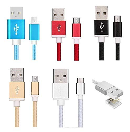 Sweet Tech Cavo Micro USB Colori Assortiti 1.5m (Confezione di 5) Nylon Intrecciato Trasmissione dati e Ricarica Rapida Anti Nodi Cavo adatto per Komu K30 / Komu K45 / Komu K60 / Komu K20 Smartphone