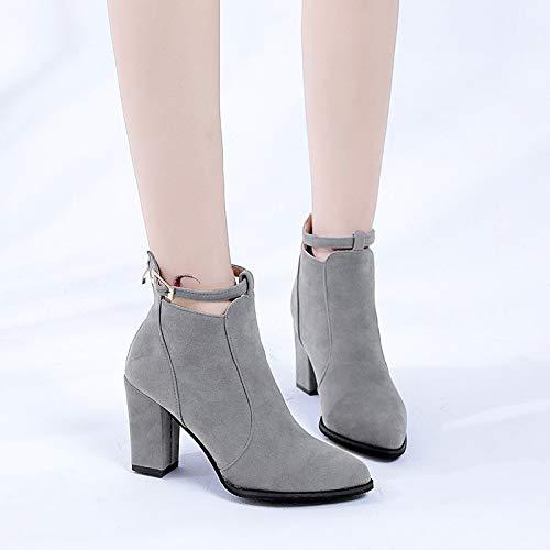 Top Shishang Frauen Spitzen dicken High Heel Gürtelschnalle Reißverschluss Martin Stiefel Chelsea Stiefel und Stiefeletten westlichen Stiefeletten,grau,35