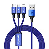 Multi Charging Cable, Upworld USB Cable 4ft 3 in 1 Premium Nylon Braided Multiple USB Fast Charging Cords Type C/Micro USB Connector for Mobile Phone (Blue)