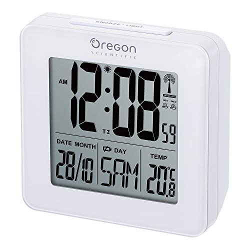 Oregon Scientific RM511 - Reloj despertador digital con repetición snooze, fecha y temperatura interior, color blanco