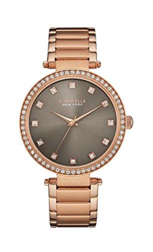 Reloj de cuarzo para mujer New York de Caravelle con barra T, pantalla analógica de esfera gris y pulsera color oro rosa 44L211