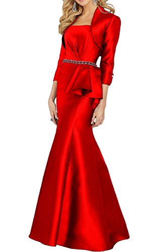 Gorgeous Bride Elegant Trägerlos Meerjungfrau Mit Bolero Brautmutterkleider Lang 2017 Damen Ballkleider Abendkleider Partykleider Cocktailkleider Lang Rot