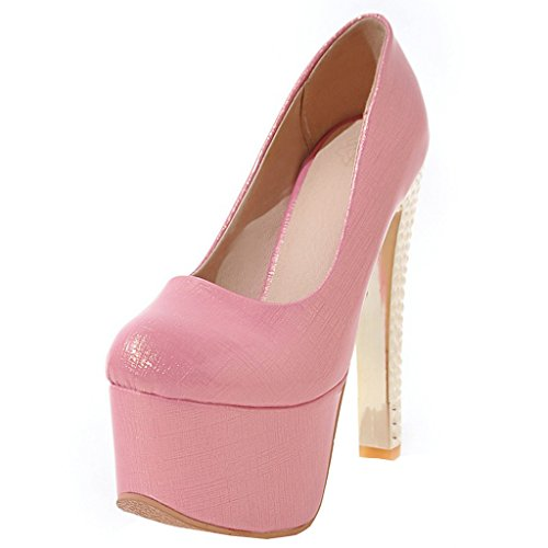 ENMAYER Frauen Lackleder Sexy Plattform Stiletto Super High Heels Runde und Peep Toe Pumps Slip auf Hochzeitskleid Court Schuhe 34 B(M) EU Rosa#16