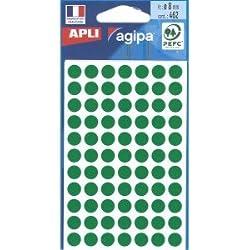 APLI Sachet de 462 étiquettes Gommettes de signalisation Rondes 8 mm Vert