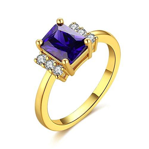 Bishilin Vergoldet Ring für Damen Stein Rechteck Kristall Lila Eherring Verlobungsring Gold Größe 57 (18.1)