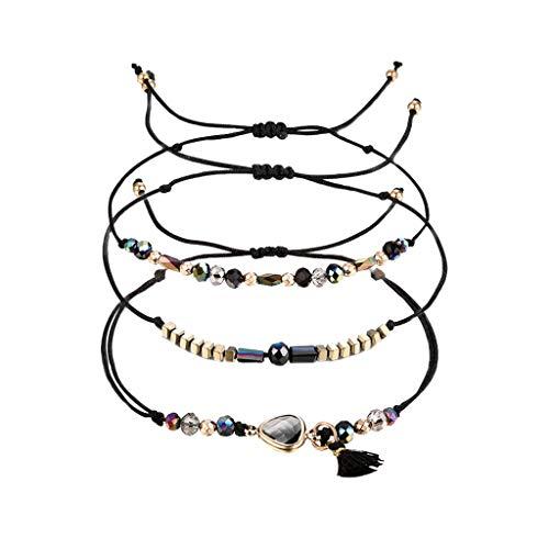 Mypace Silber Gold 925 Armreif Für Damen Herren Mode Temperament Crystal Multicolor Multi Layer Kreative Quaste mit verstellbarem Armband (Schwarz)